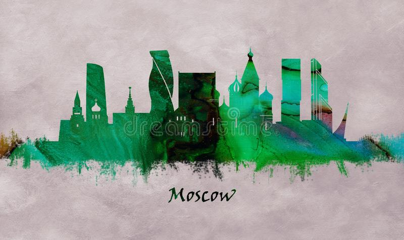 Capitale de Moscou de la Russie, horizon illustration de vecteur