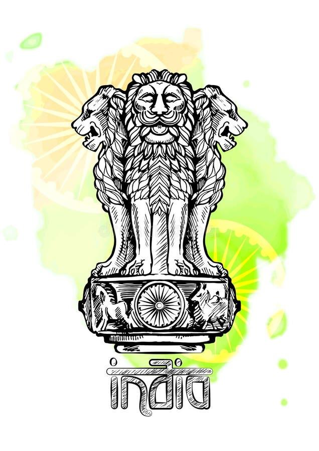 Capitale del leone di Ashoka nel colore indiano della bandiera Emblema dell'India illustrazione di stock