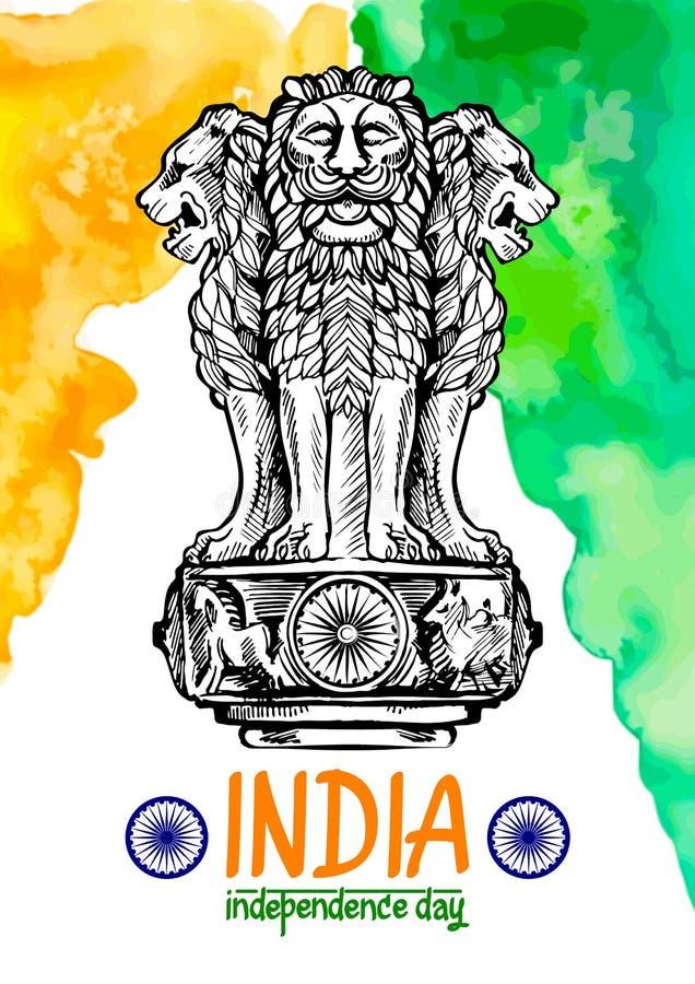 Capitale del leone di Ashoka nel colore indiano della bandiera Emblema dell'India illustrazione vettoriale