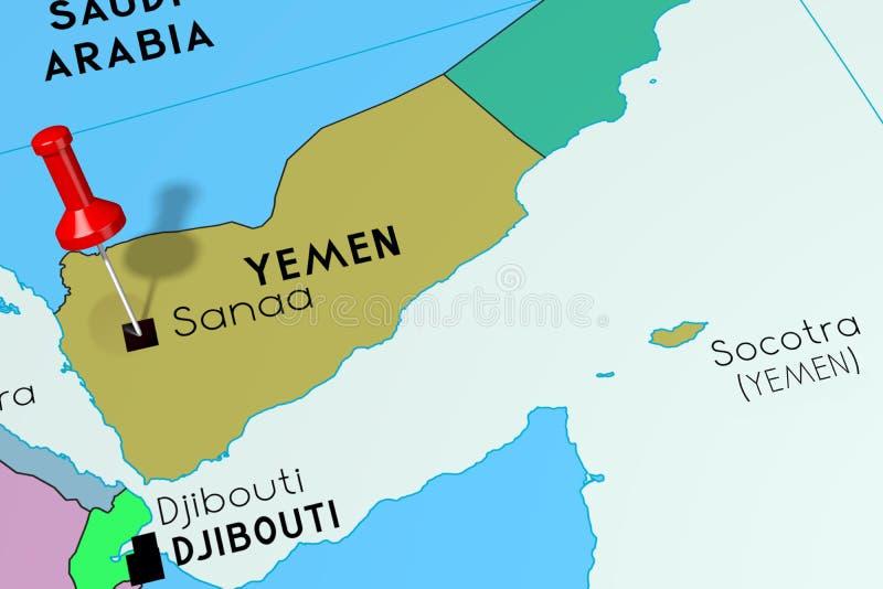 Capitale dell'Yemen, Sanaa, appuntata sulla mappa politica royalty illustrazione gratis