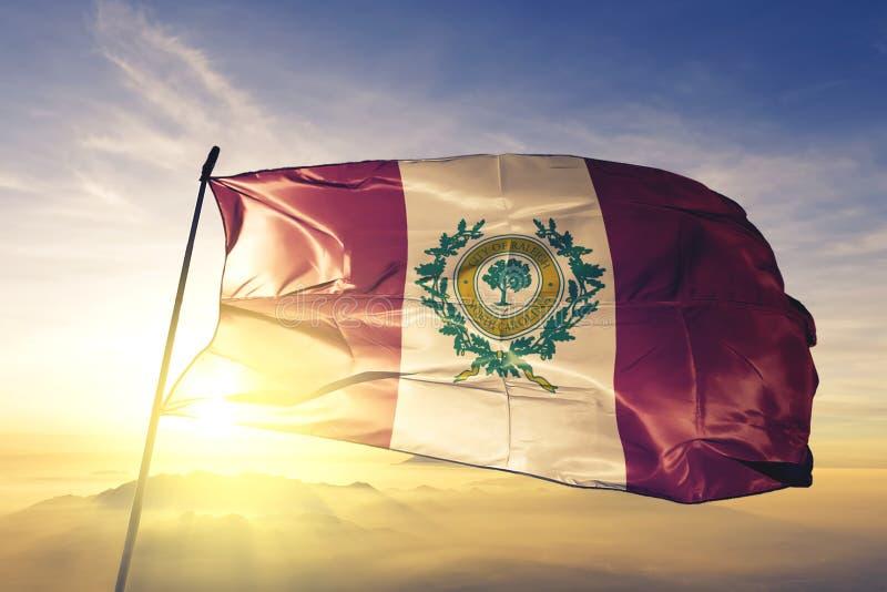 Capitale della città di Raleigh della Nord Carolina del tessuto del panno del tessuto della bandiera degli Stati Uniti che ondegg royalty illustrazione gratis