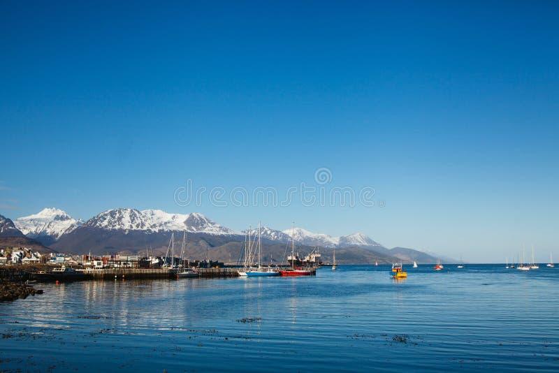 Capitale di Ushuaia del paesaggio di Tierra del Fuego Argentina fotografia stock libera da diritti
