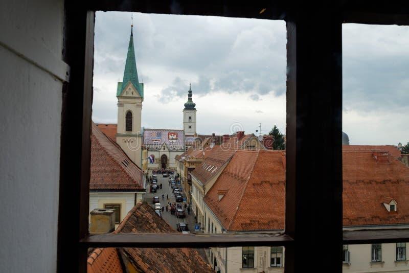 Capitale euopean di Mark Church Croatia del san di Zagabria Destinazione turistica di viaggio immagini stock