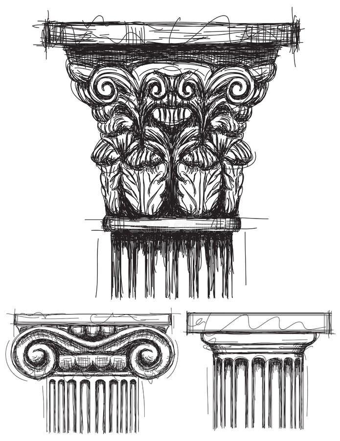 Capitales de columna ilustración del vector