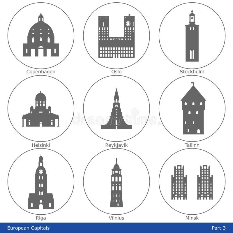 Capitales européennes - l'icône a placé (partie 3) illustration de vecteur