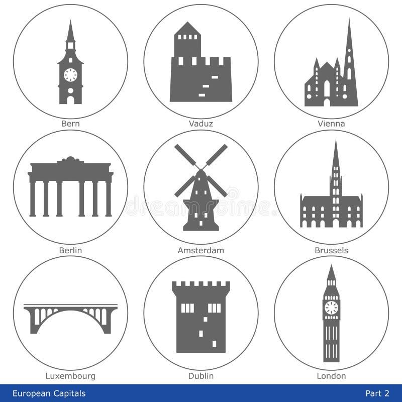 Capitales europeas - el icono fijó (la parte 2) libre illustration