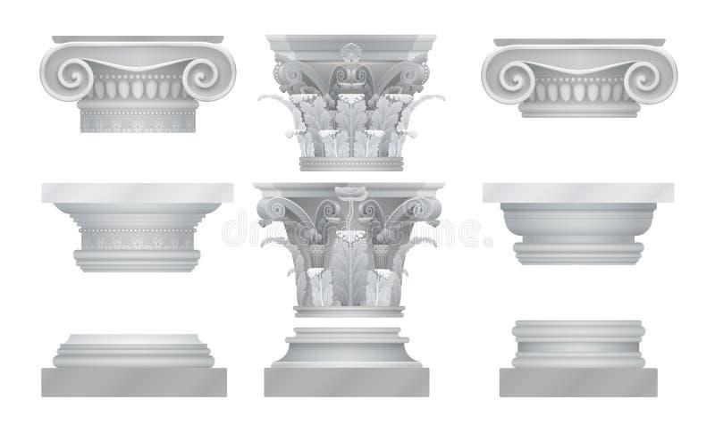 Capitali di colonna realistici di Roma del greco antico di vettore messi illustrazione vettoriale