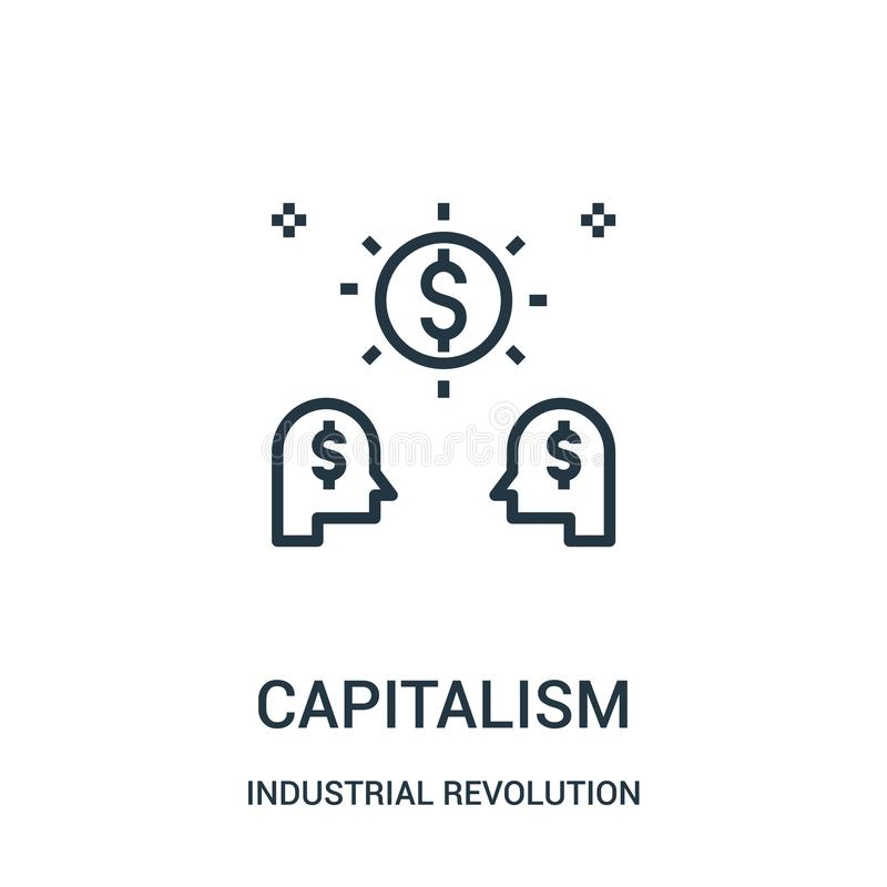 capitalism icon vector from industrial revolution collection. Thin line capitalism outline icon vector illustration stock illustration