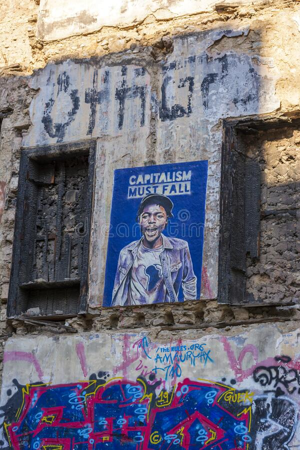 Free Capitalism Must Fall Text Sprayed On The Old Wall, Anarchist Aesthetics Royalty Free Stock Images - 173535669