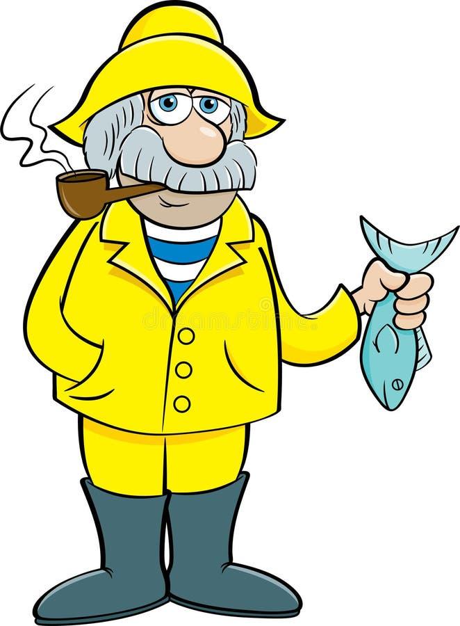 Capitano di mare anziano del fumetto che tiene un pesce illustrazione vettoriale