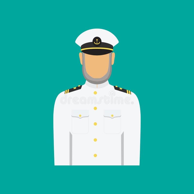 Capitano di nave in uniforme nello stile piano Illustrazione di vettore illustrazione di stock