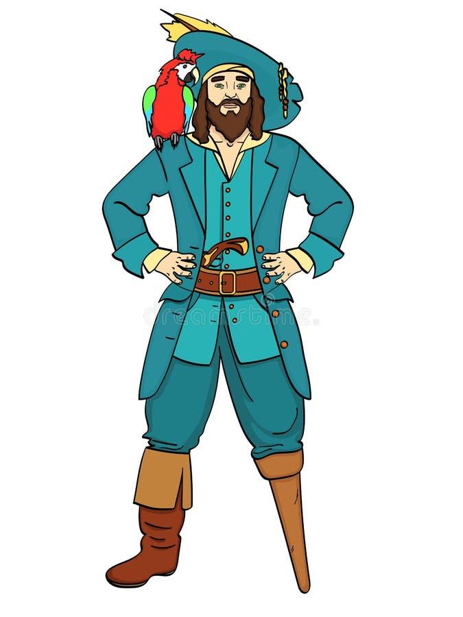 Capitano monco di una gamba, il piede di legno, uomo è un pirata, un marinaio Vettore, oggetto isolato su fondo bianco illustrazione vettoriale