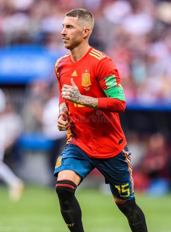 Capitano nazionale Sergio Ramos della squadra di football americano della Spagna e di Real Madrid immagini stock