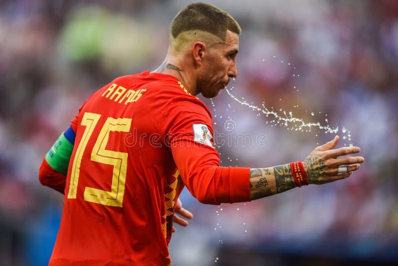 Capitano nazionale Sergio Ramos della squadra di football americano della Spagna e di Real Madrid immagini stock libere da diritti