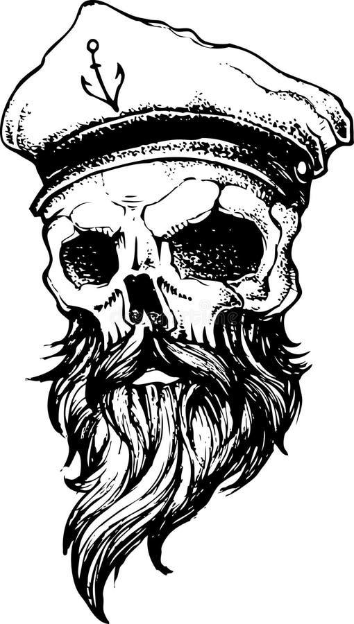 Capitano Pirate Skull Head illustrazione vettoriale
