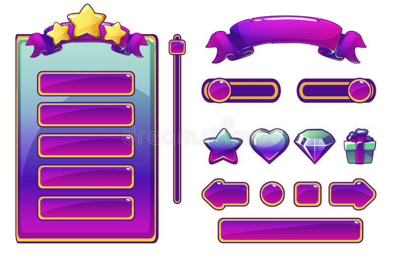 Capitaux et boutons pourpres de bande dessinée pour le jeu d'Ui, interface utilisateurs de jeu illustration libre de droits