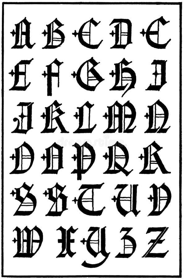 Capitaux gothiques anglais, XVIème siècle illustration stock