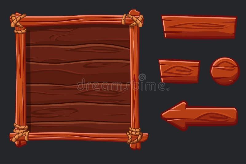 Capitaux, interface et boutons en bois rouges réglés pour le jeu d'Ui illustration de vecteur