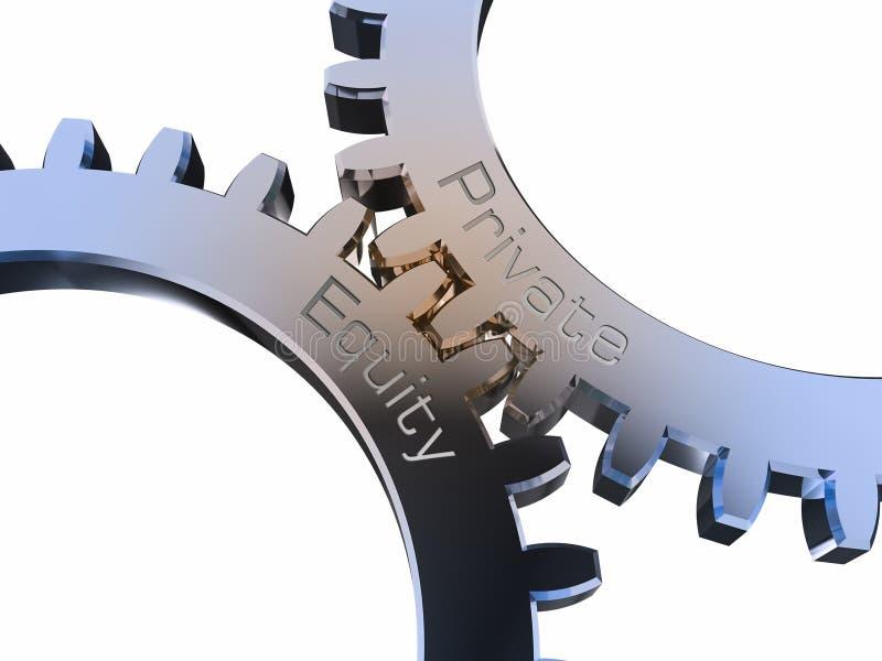 Capitaux propres privés sur des roues dentées illustration de vecteur