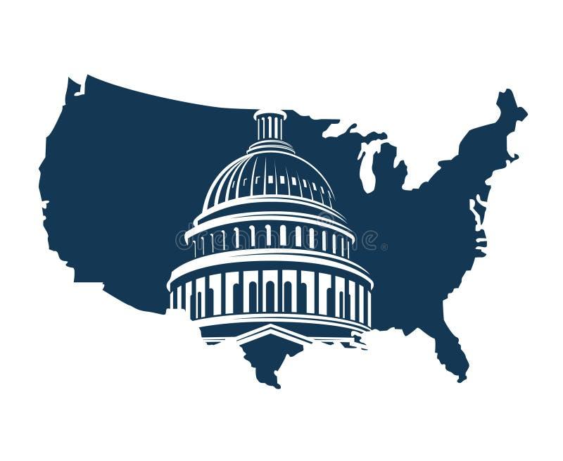 Capitol budynek na tle mapa royalty ilustracja