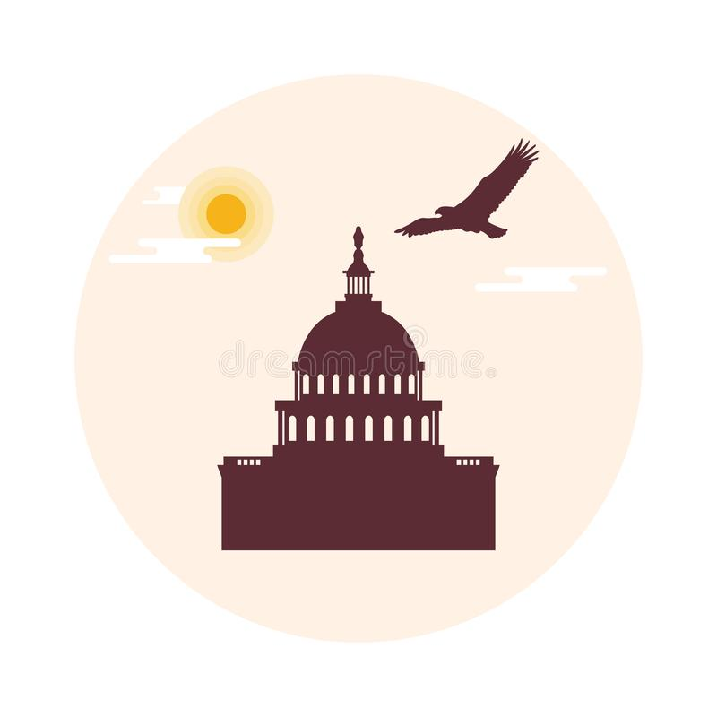 Capitol budynek U S Kongres, słońce, chmury i soari, ilustracji