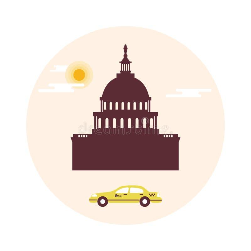 Capitol budynek U S Kongres, słońce, chmury i taxi, ilustracji