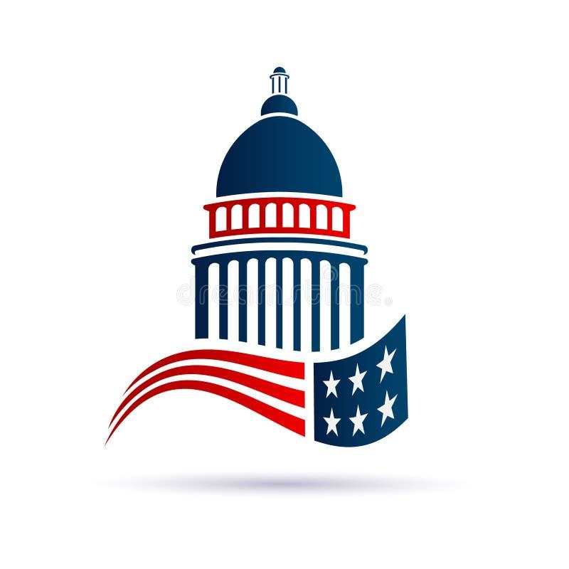 Capitol budynek z Amerykańskim Swoosh logem ilustracja wektor