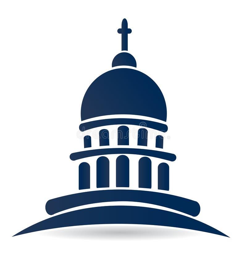 Capitol budynku kościelny świątynny logo royalty ilustracja