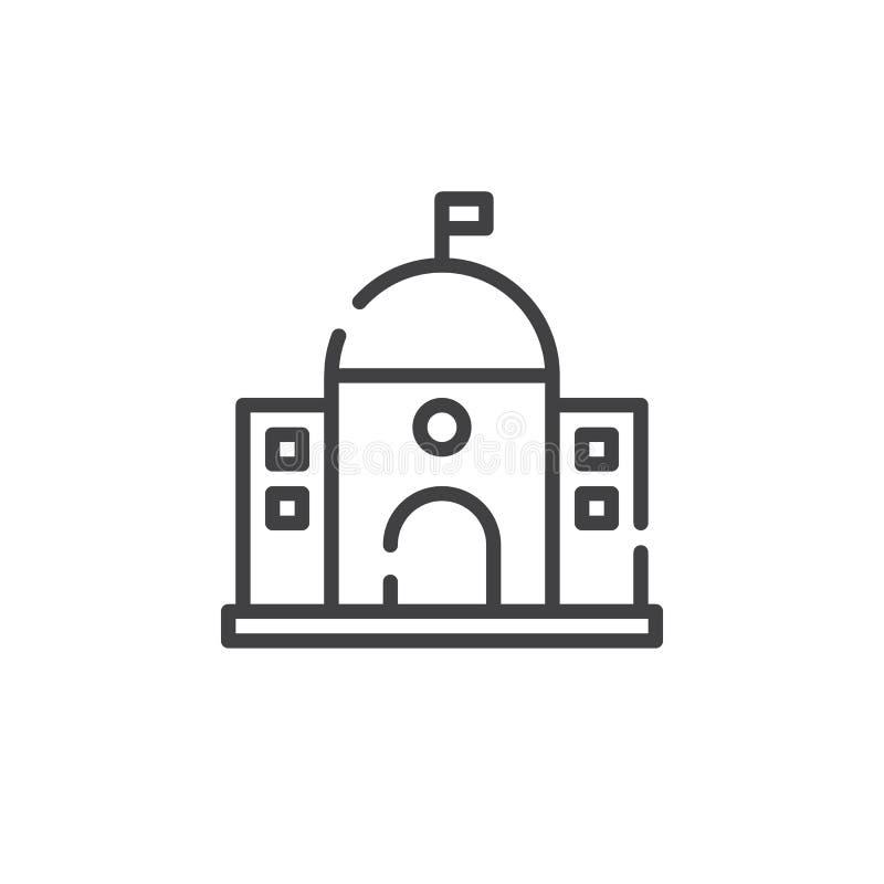Capitol budynku linii ikona ilustracja wektor