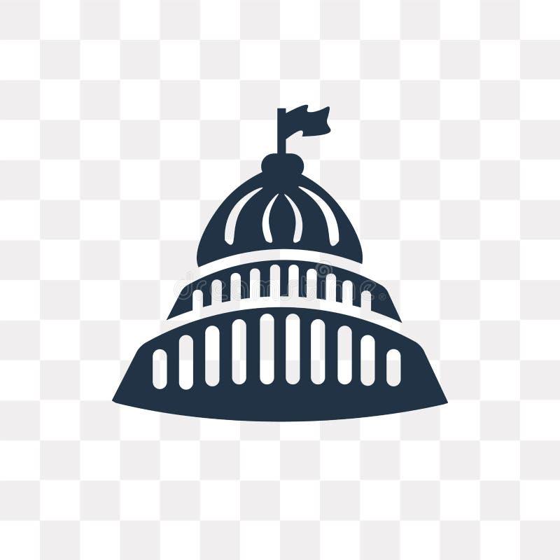 Capitol budynku wektorowa ikona odizolowywająca na przejrzystym tle, ilustracji