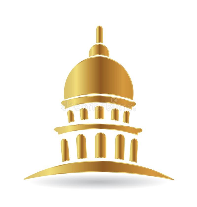 Capitol budynku złocista ikona ilustracji
