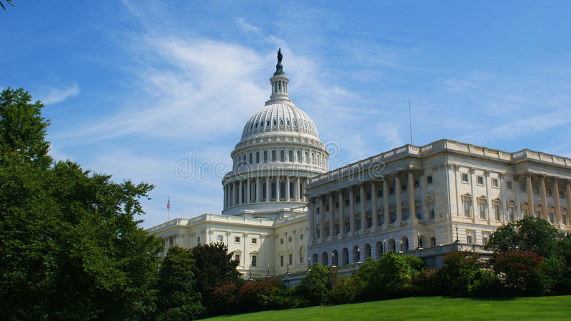 Capitol Building. And gardens in Washington D.C stock photo