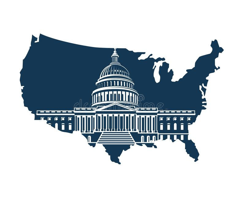 Capitol building on background of the map stock illustration