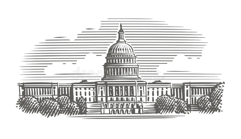 Capitol building engraving style illustration. Vector. Isolated. Sky/building layered. Capitol building engraving style illustration. Vector. Isolated. Sky/ stock illustration