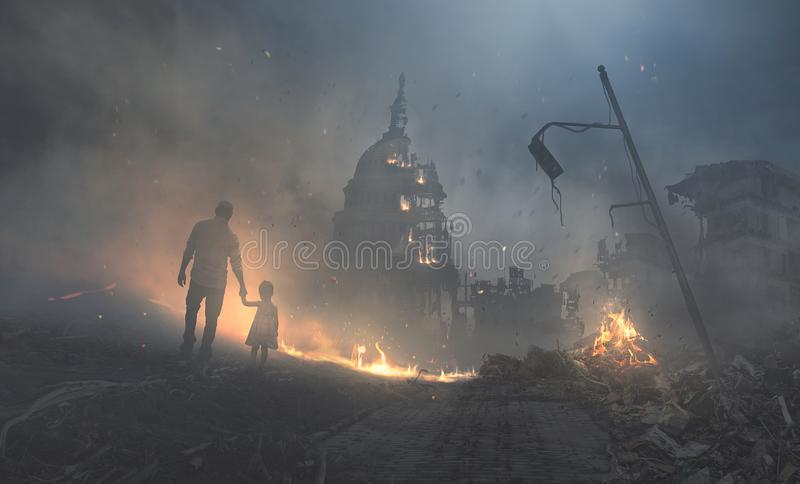 Capitol building in flames. A father and child walk into a destroyed city and government buildings stock photos