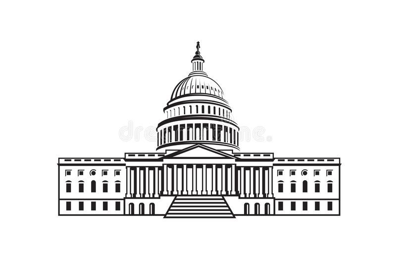 Capitol building icon. United States Capitol building icon in Washington DC royalty free illustration
