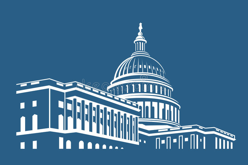 Capitol building icon. United States Capitol building icon in Washington DC stock illustration