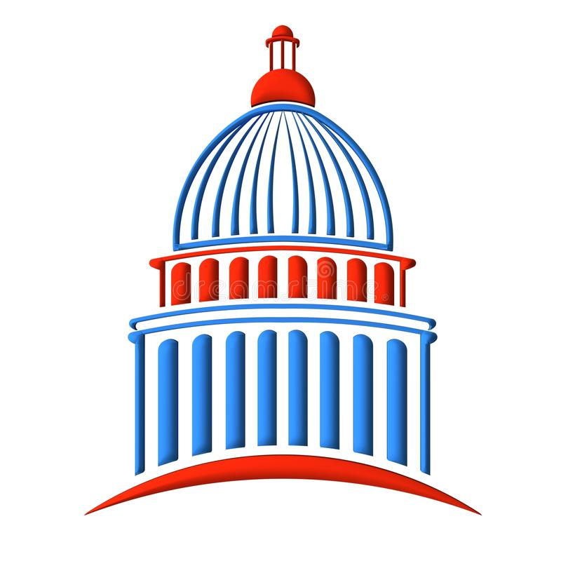 Capitol Building Logo Red And Blue Stock Illustration ...