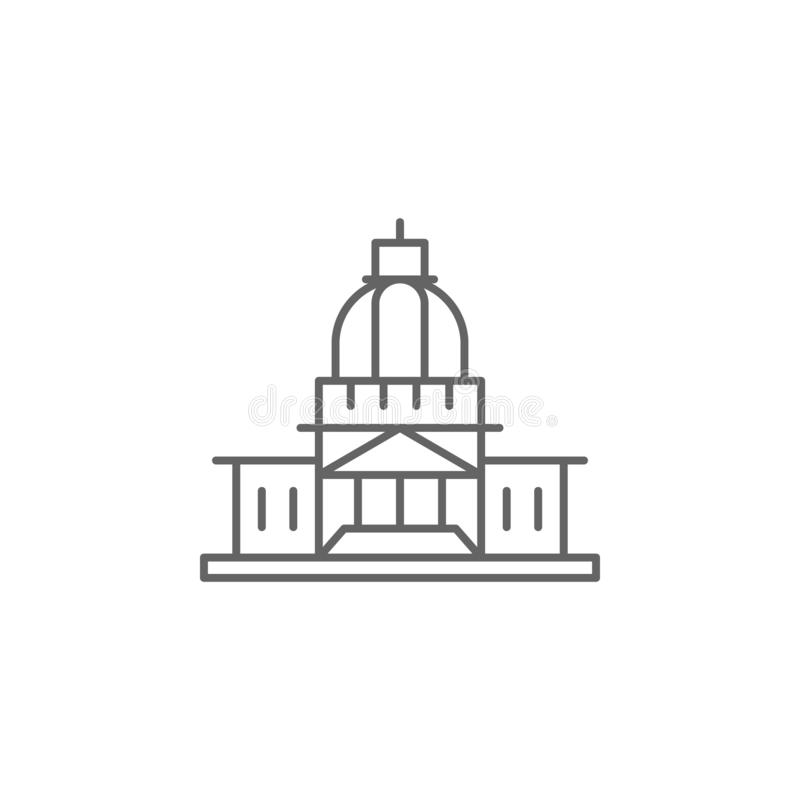 capitol building municipal outline icon. Elements of independence day illustration icon. Signs and symbols can be used for web, vector illustration