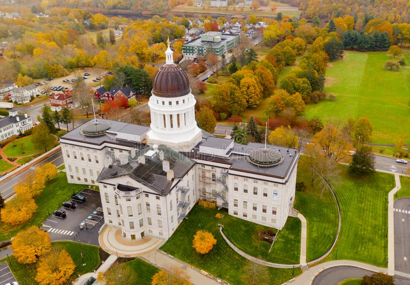 Capitol Building State House Augusta Maine Autumn Season Aerial stock photography