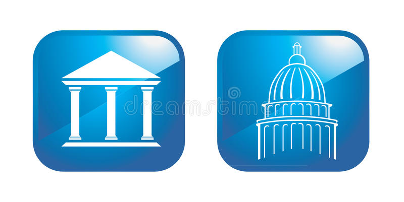 Capitol columns. Capitol logo detail and columns with roof icon