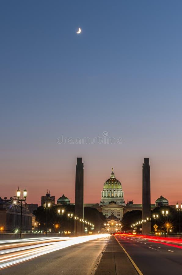 Capitol d'Harrisburg la nuit photo stock
