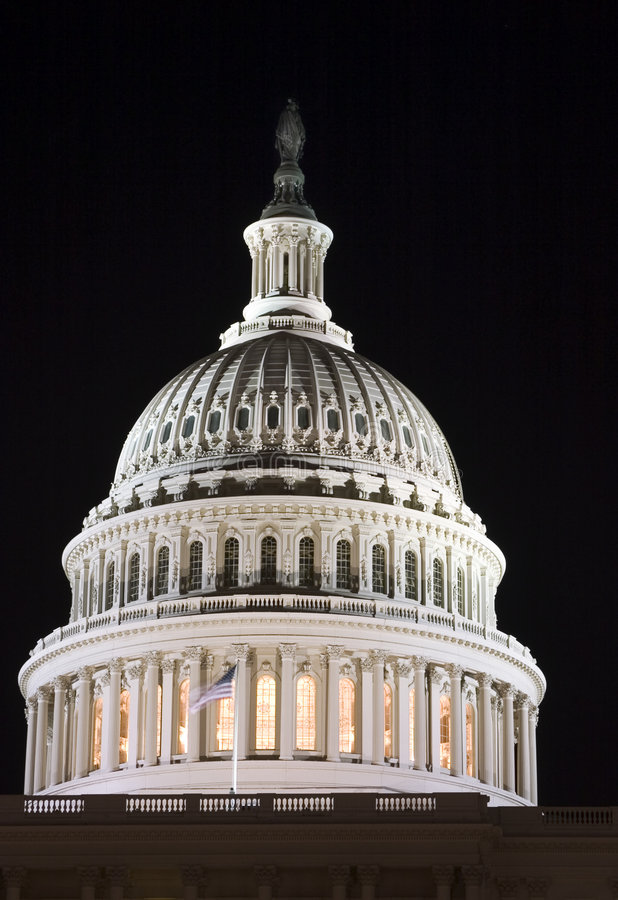 Capitol dome at night (Lights of the Washington DC) stock photo