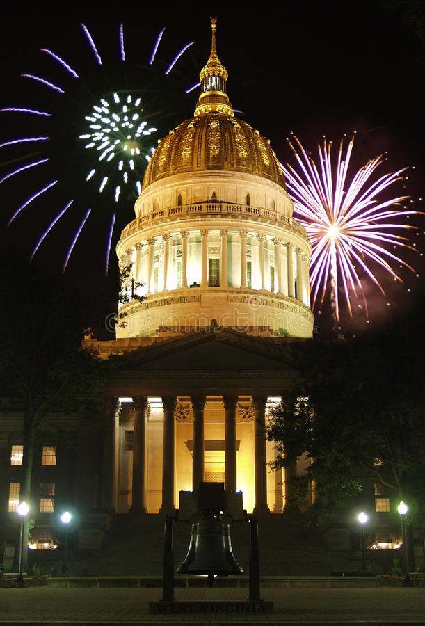 Capitol Fireworks royalty free stock photography
