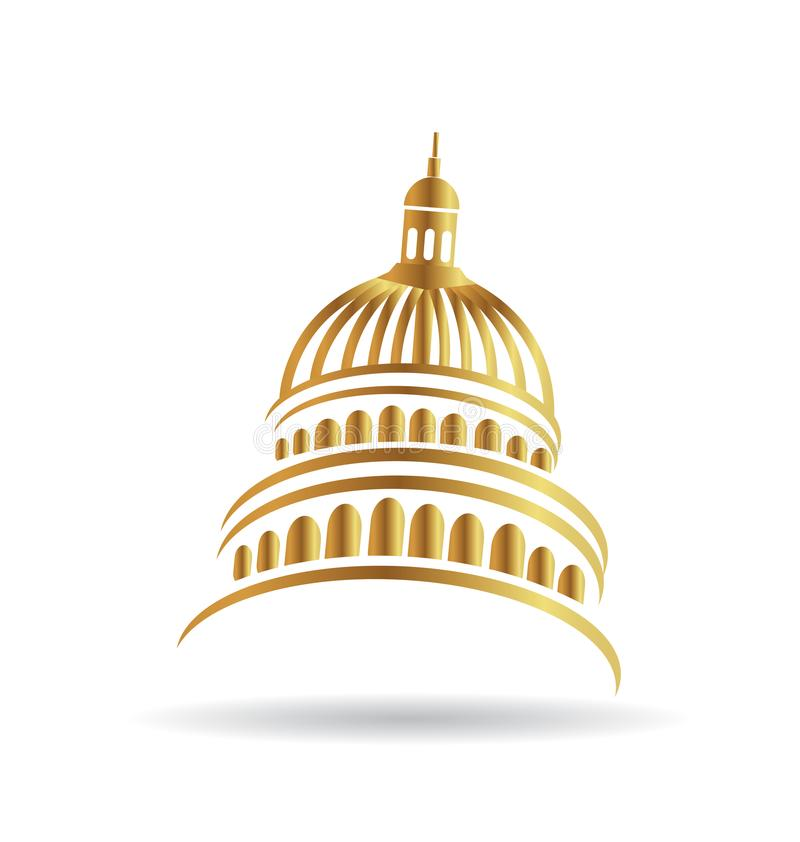 Capitol gold building icon royalty free illustration