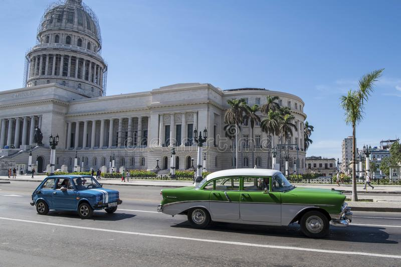 Capitol of Havana with american classic car in front, Cuba stock photography