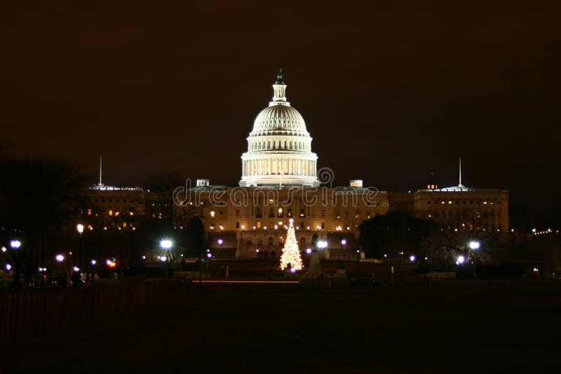 Capitol Hill At Night Stock Image