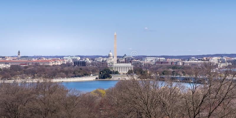 Capitol Hill, Washington Mornument och Lincoln Memoria arkivbild