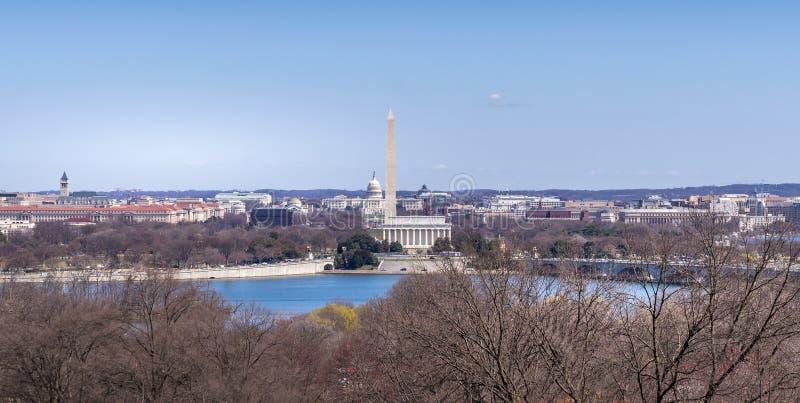 Capitol Hill, Washington Mornument y Lincoln Memoria fotografía de archivo