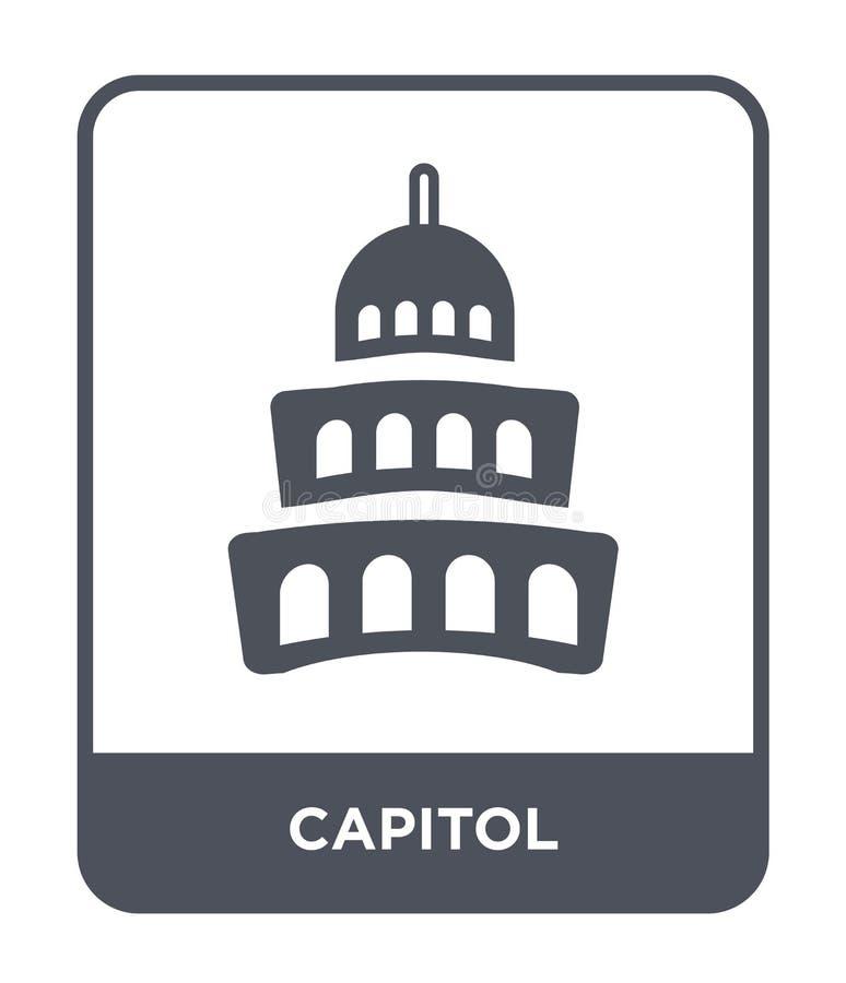 capitol ikona w modnym projekta stylu Capitol ikona odizolowywająca na białym tle capitol wektorowej ikony prosty i nowożytny pła ilustracji